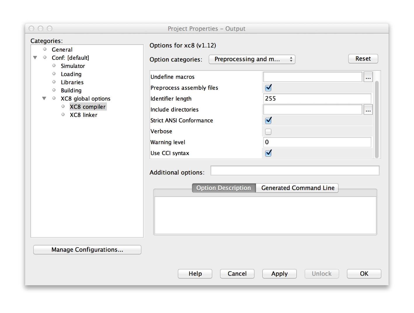 MPLAB X Project Properties XC8 compiler settings