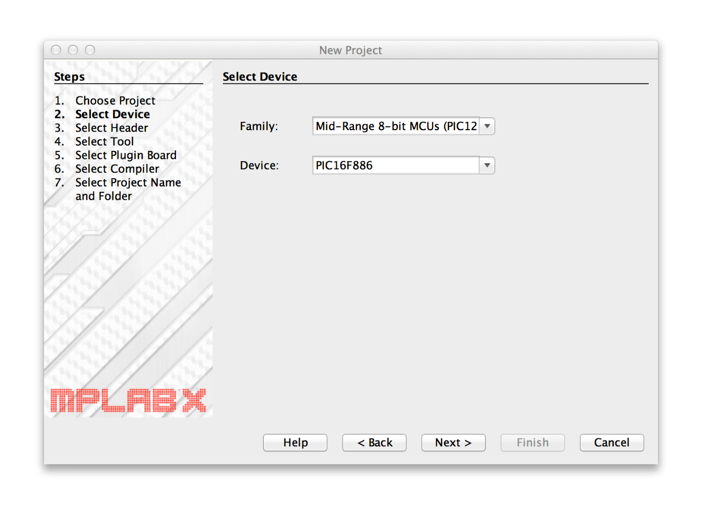MPLAB X Select Device window